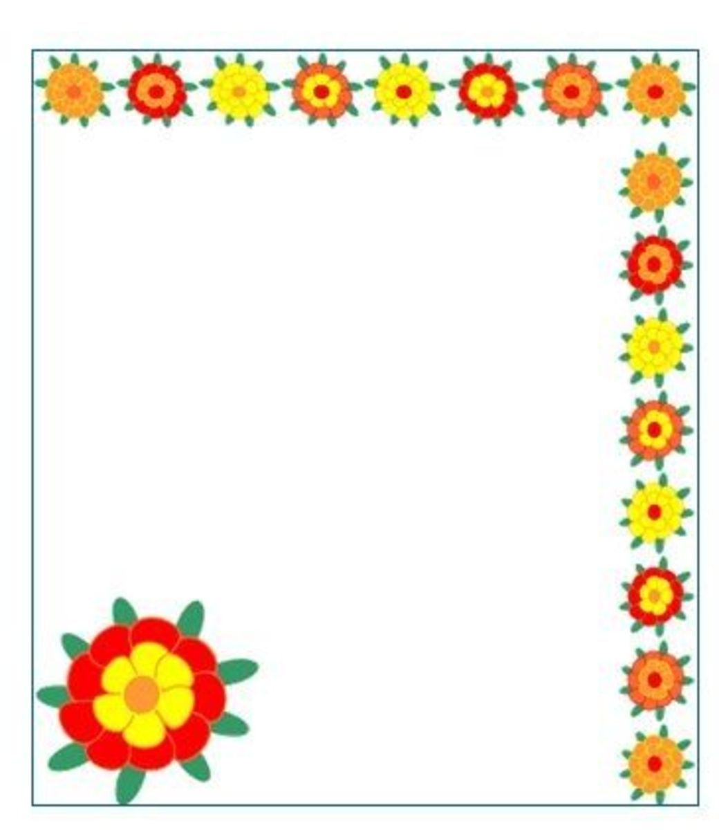 Clip art border sample, Mexican marigold flowers frame and blossom