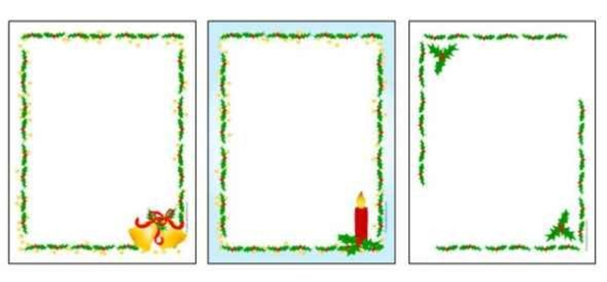 Three page size printable letter paper Christmas frame borders