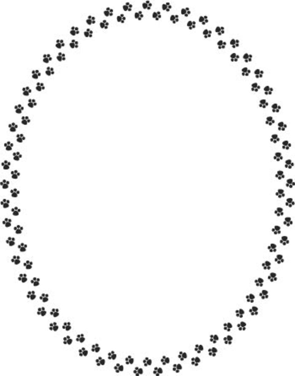 Paw Prints Oval Frame Border