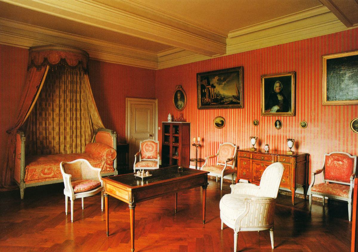 Chambre de Madame Luzarche at Azay le Ferron Castle.  The château is furnished as it was when occupied by the Luzarche family and George Hersant and his wife, between 1850 and 1953, when it opened to the public.