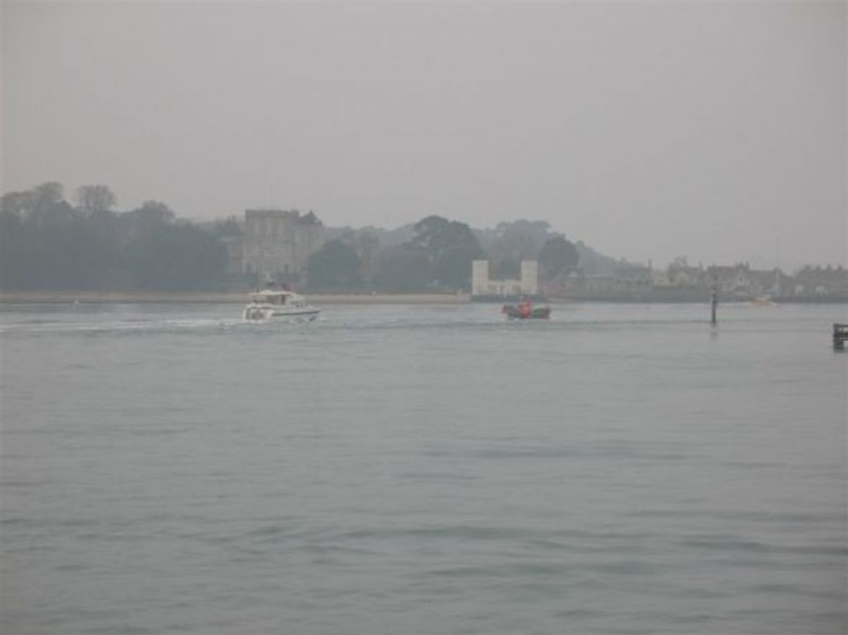 Brownsea Island and Branksea Castle from Sandbanks Ferry