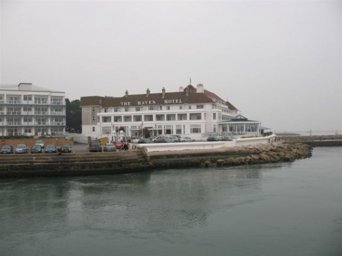 The historic Haven Hotel from Sandbanks Ferry