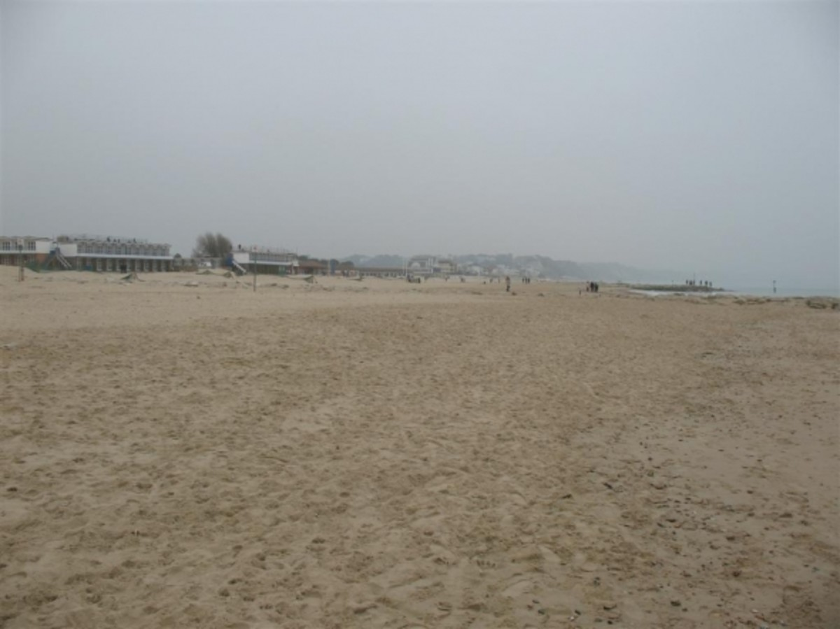 Sandbanks looking east towards The Pavilion.