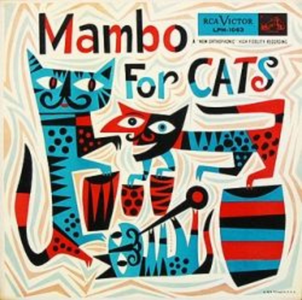 "Various Artists ""Mambo for Cats"" RCA Victor Records 1063 LP Vinyl Record (1955) Album Cover Art & Design by Jim Flora"