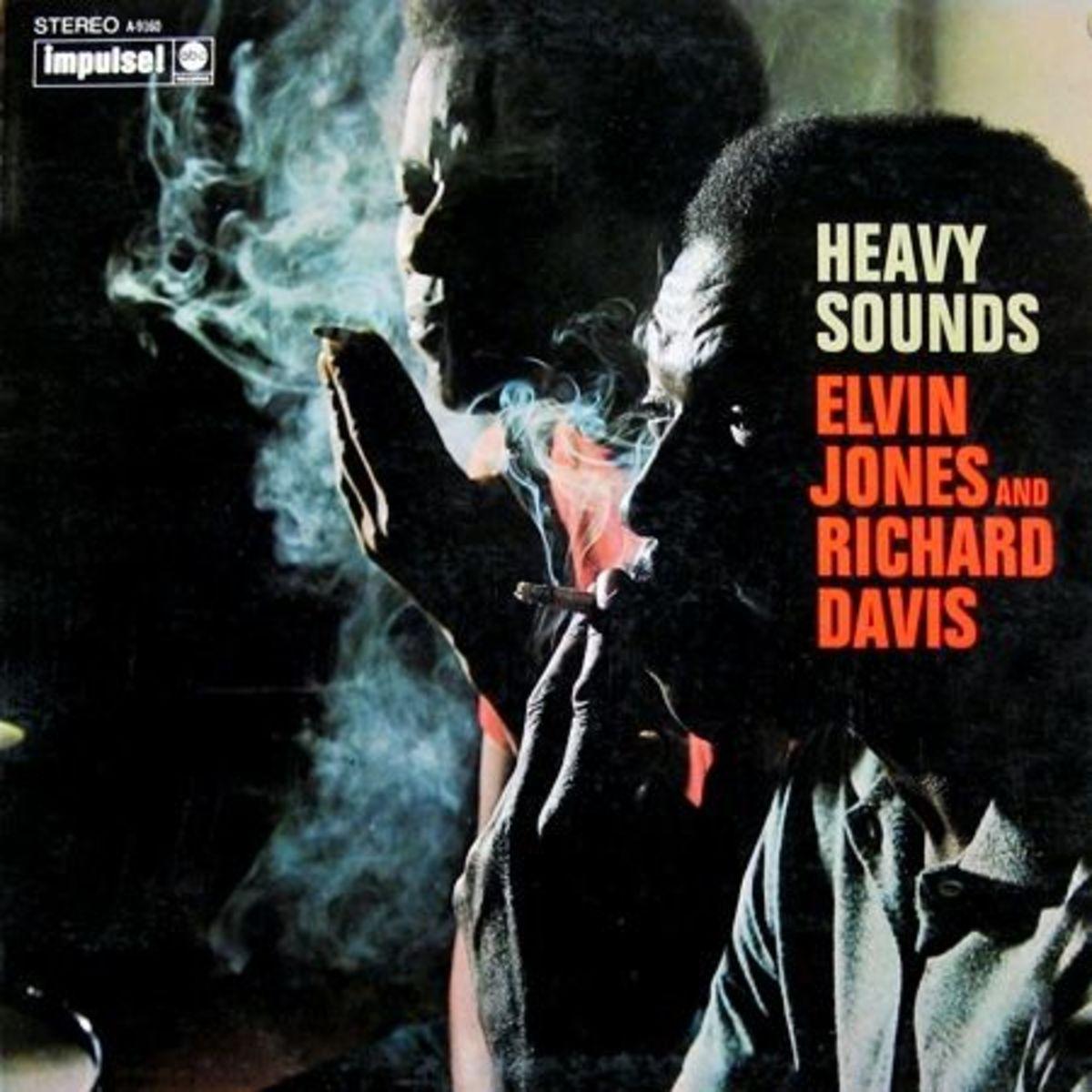 "Elvin Jones & Richard Davis ""Heavy Sounds"" Impulse Records A-9160 12"" LP Vinyl Record (1968) Album Cover Design by Robert & Barbara Flynn, Photo by Charles Stewart"