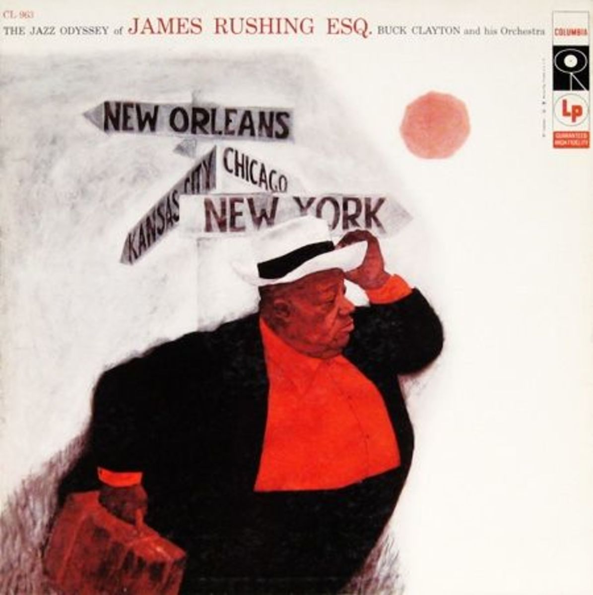"1956 Jimmy Rushing ""The Jazz Odyssey of James Rushing Esq"" Columbia Records 963 12"" Vinyl Record (1956) Album Cover Art by Tom Allen Design by Neil Fujita"