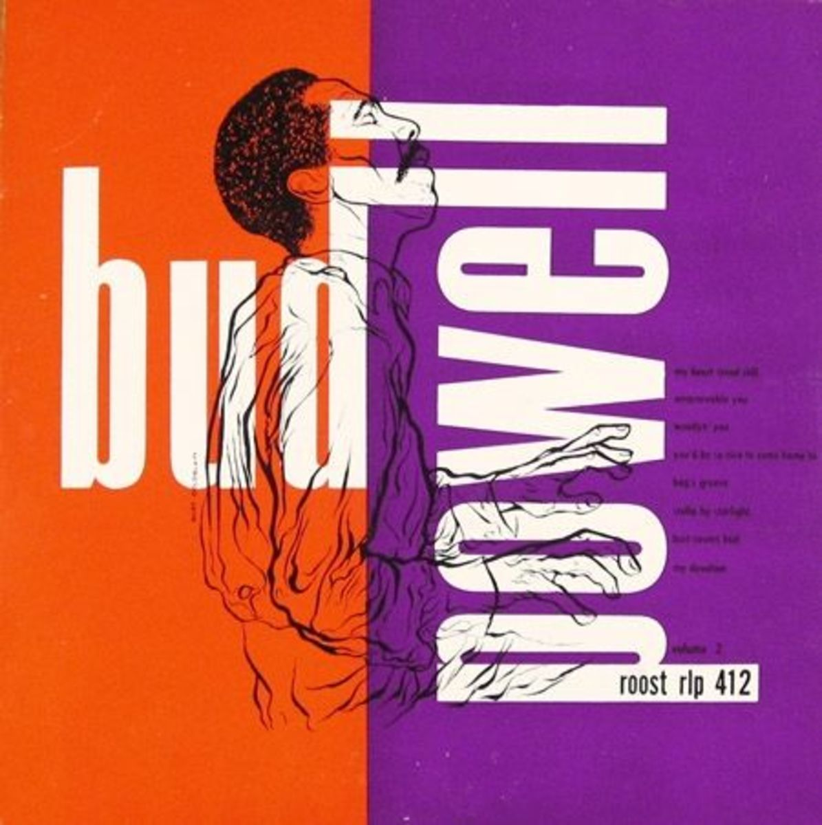 "Bud Powell ""The Bud Powell Trio Vol 2"" Roost Records 412 10"" LP Vinyl Record (1953) Album Cover Art & Design by Burt Goldblatt"