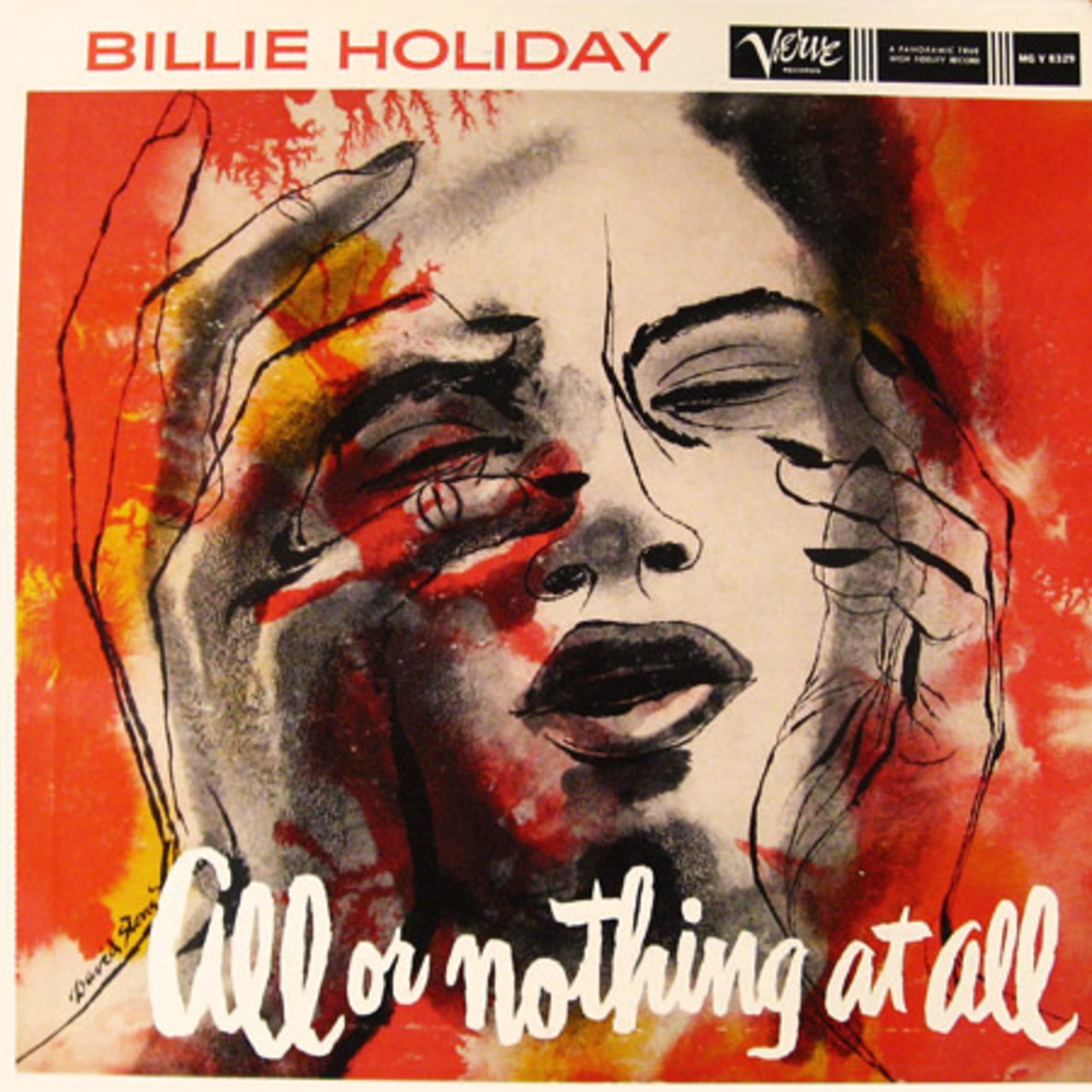 "Billie Holiday ""All Or Nothing At All"" Verve Records MG V 8329 12"" LP Vinyl Record (1957) Album Cover Art by David Stone Martin"
