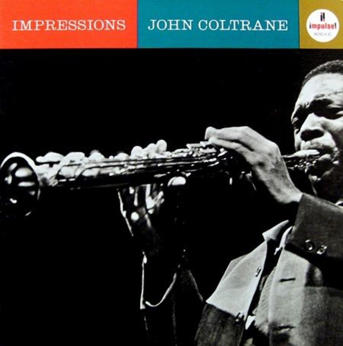 "1963 John Coltrane ""Impressions""  Impulse Records A-42 12"" LP Vinyl Record (1963) Album Cover Design by Robert Flynn, Photo by Joe Alper"