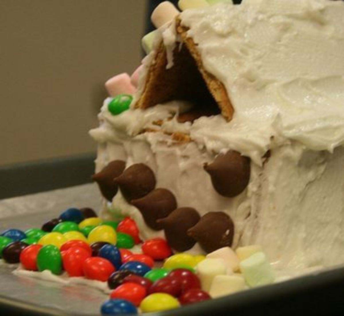 Gingerbread house candy craft made by child