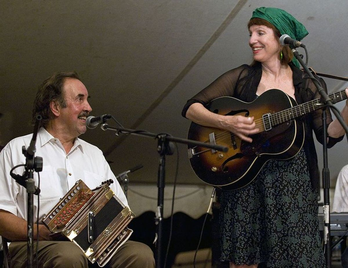 Marc and Ann Savoy playing at Balfa Camp