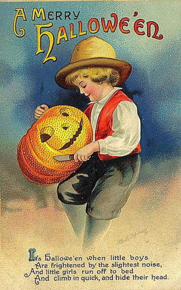 Vintage Halloween card: little boy with carved Jack-o-lantern