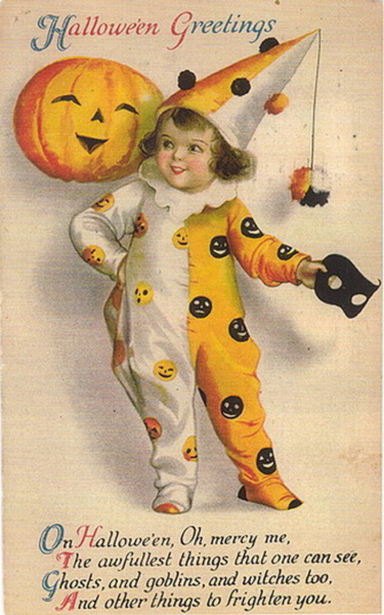 Free vintage Halloween card: little boy clown with pumpkin