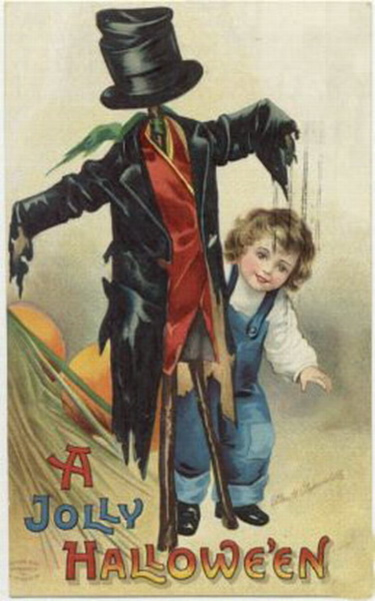 Free vintage Halloween card: little boy with scarecrow