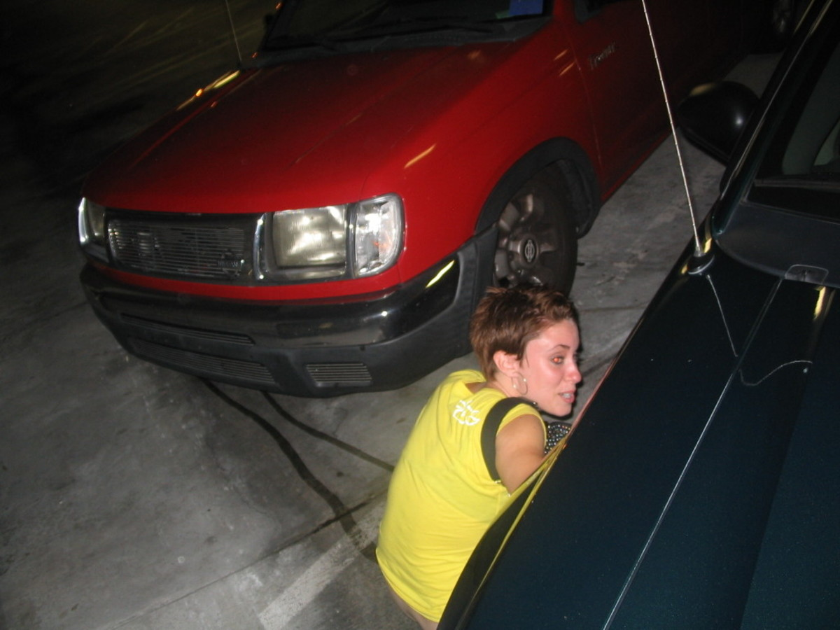 Casey Anthony, relieving herself in a parking lot.