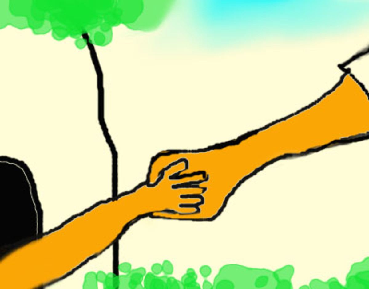 Little Daisy reaches out and take Big Daisy's outstretched hand.
