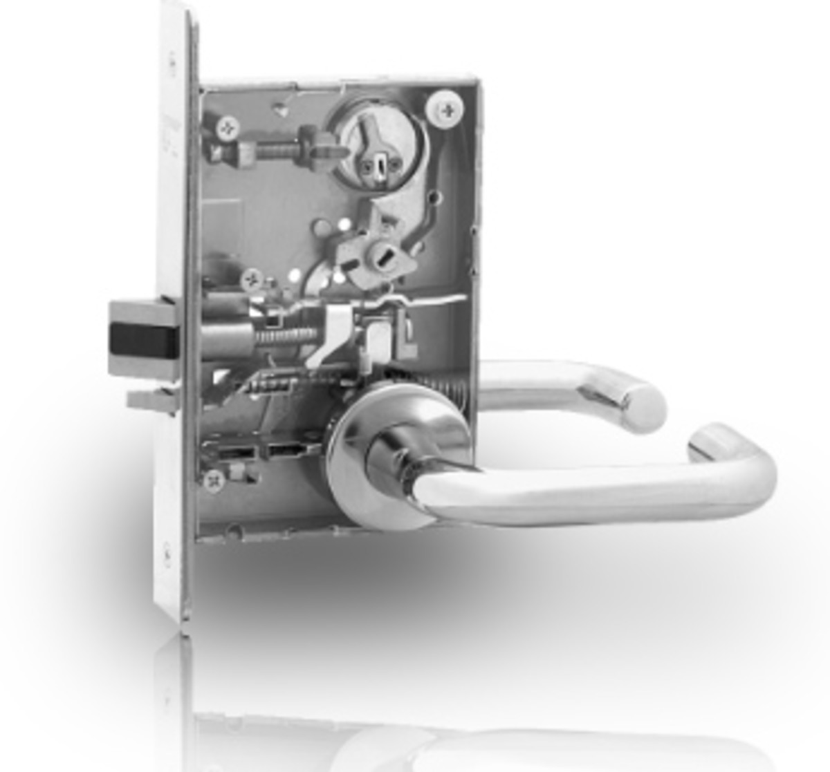 Sargent 8200 series mortise lock shown with the case cover off.  Looks like classroom function, perhaps?