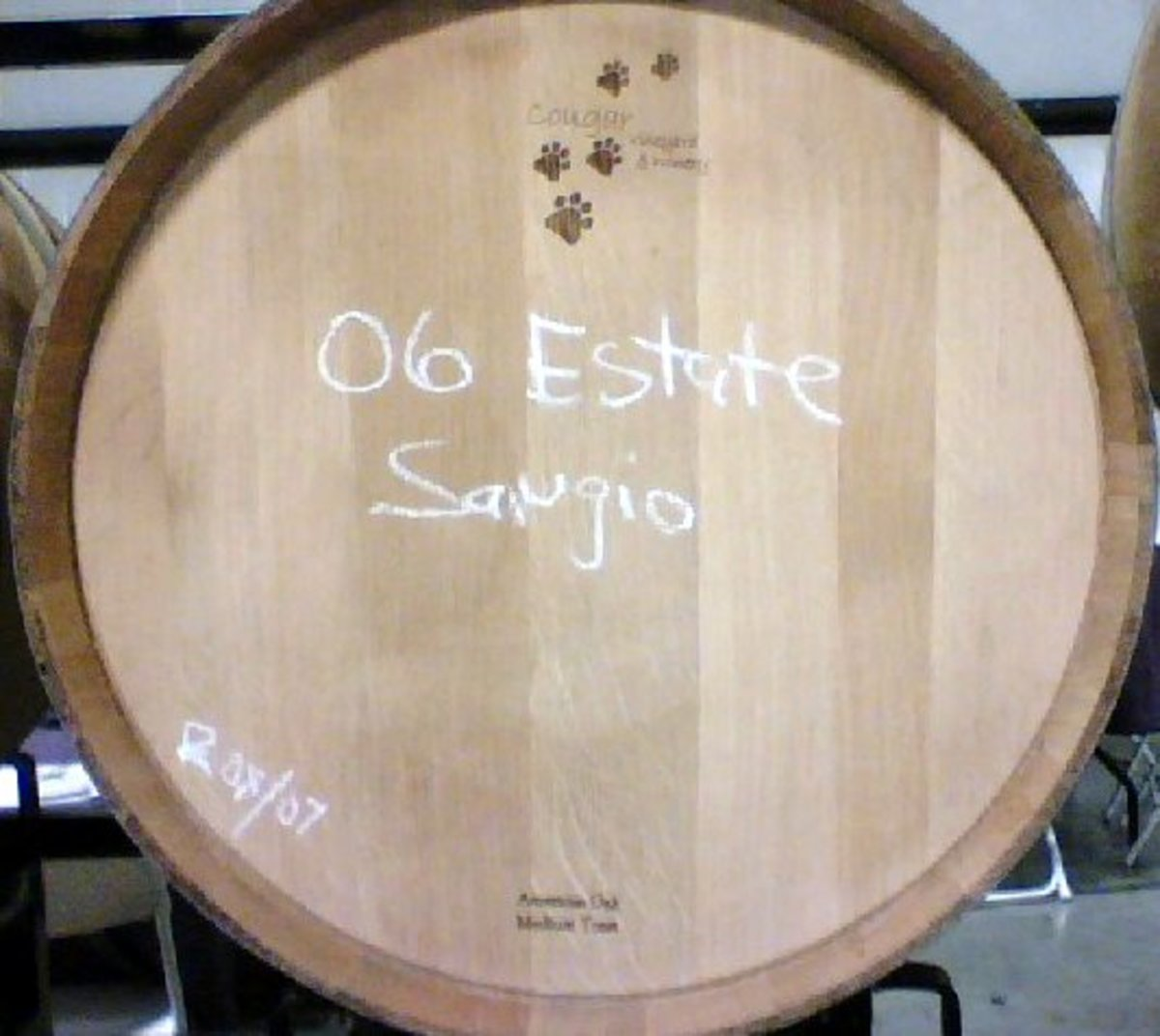 Barrel of Sangiovese at Cougar Winery