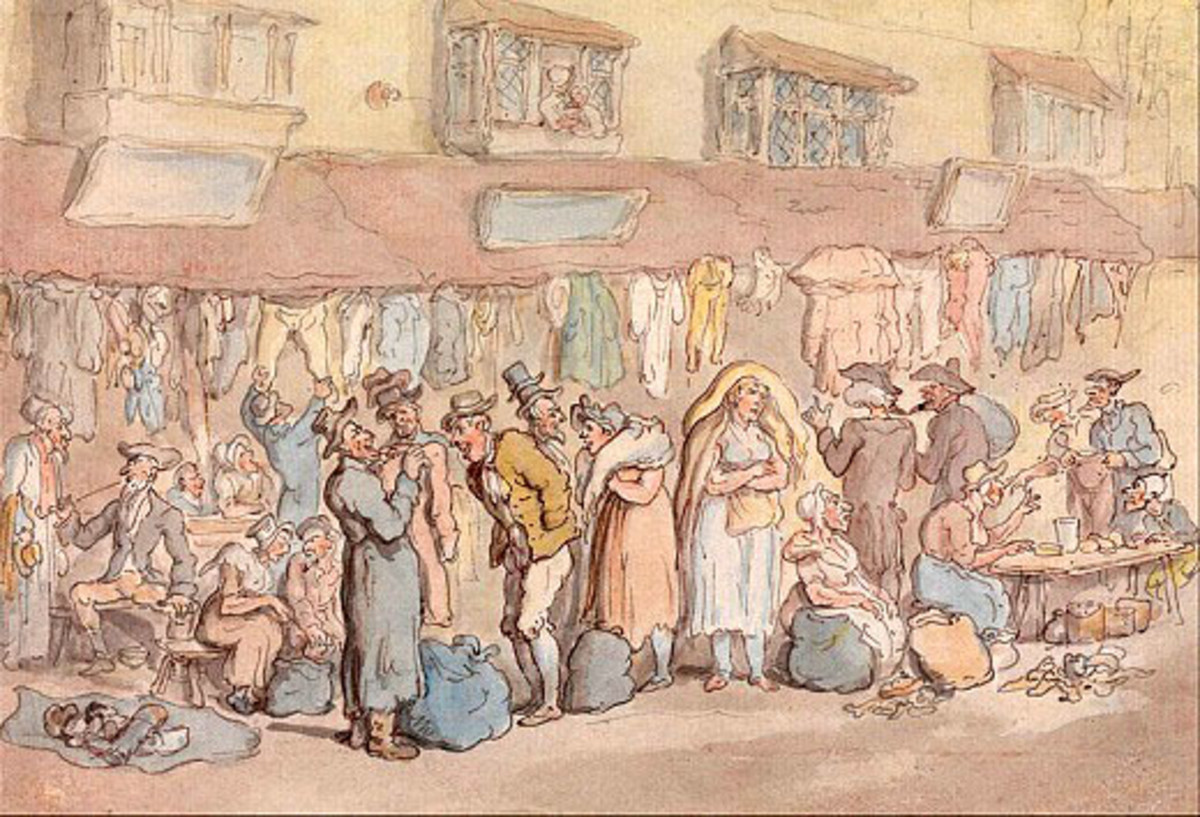 Rag Fair in Petticoat Lane by Thomas Rowlandson (1756–1827) Most of the people in the picture would be Cockneys.