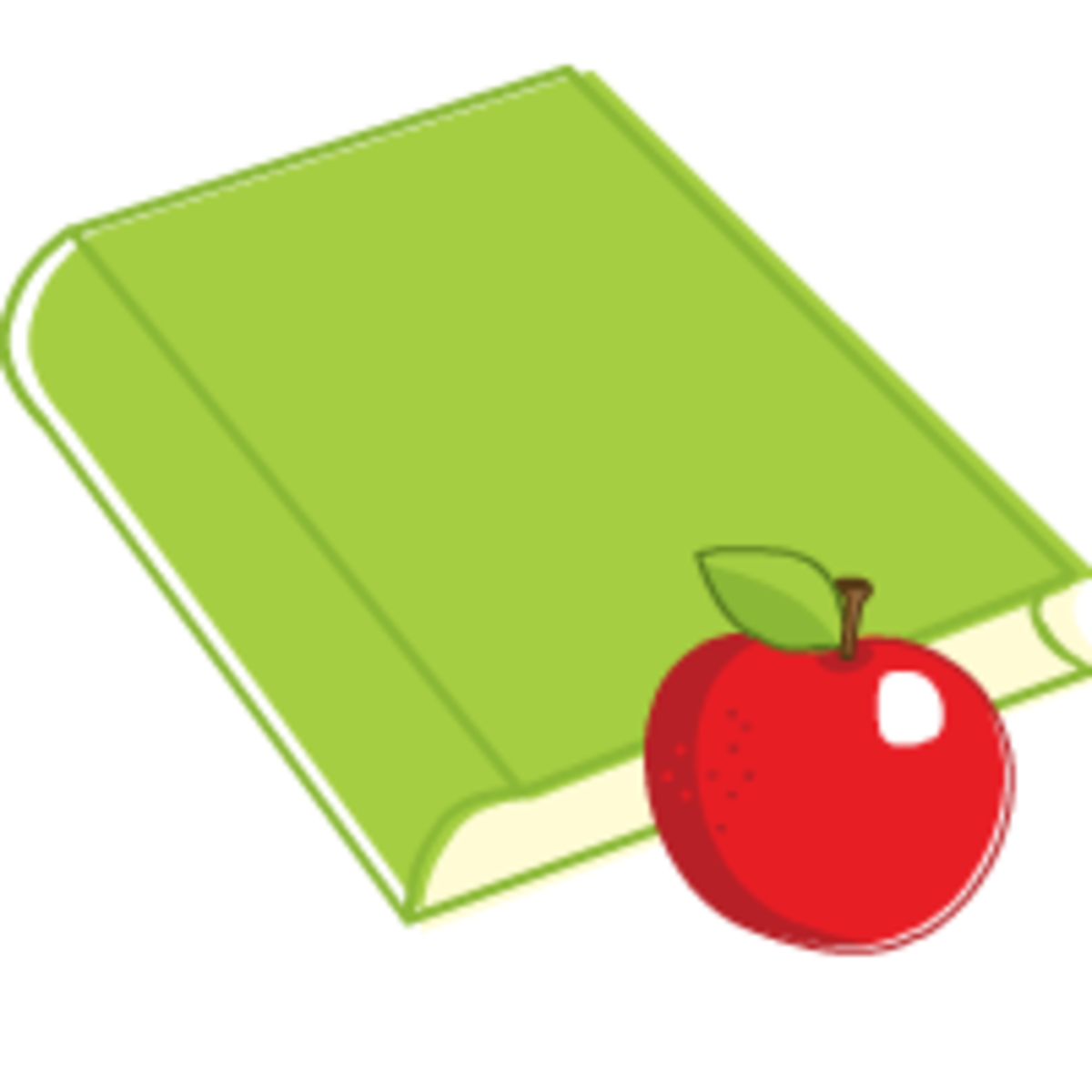 Back to school clip art: book and a red apple for the teacher