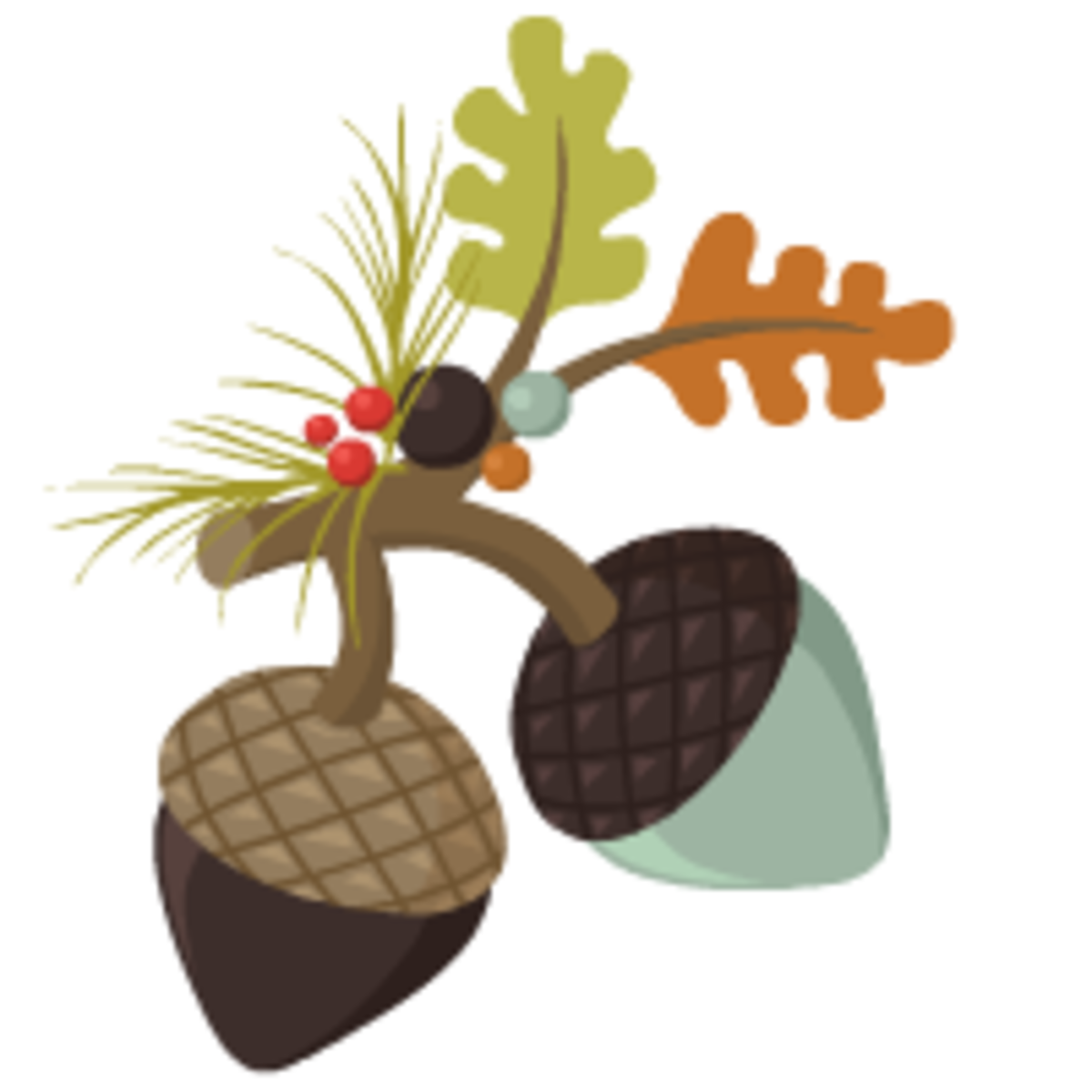 two acorns with two oak leaves free clip art