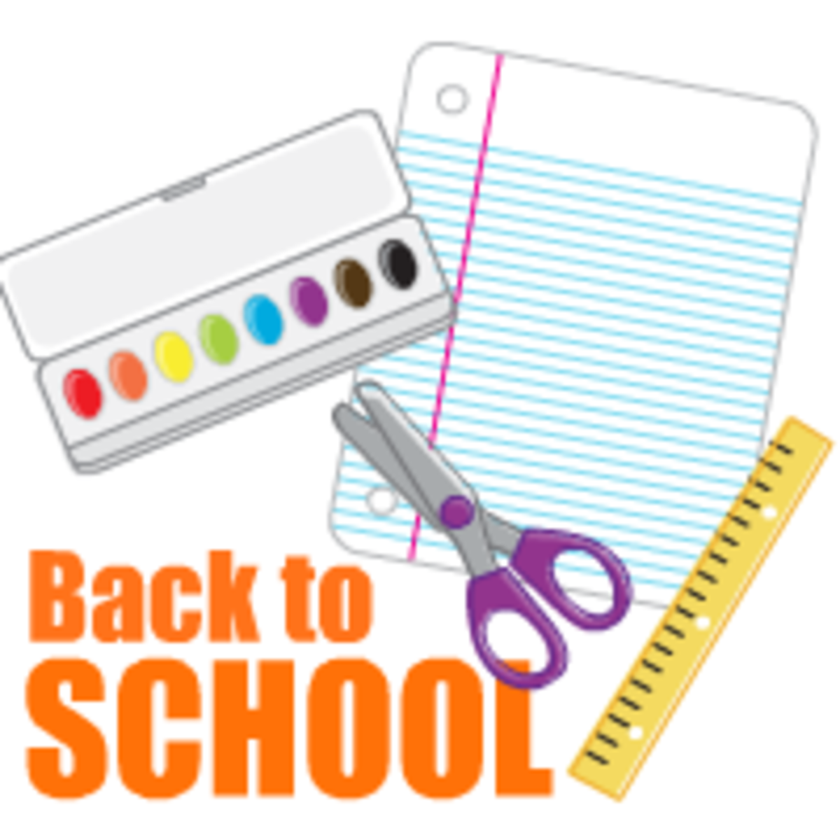 Back to school clip art: paint box, scissors, lined notebook paper, ruler
