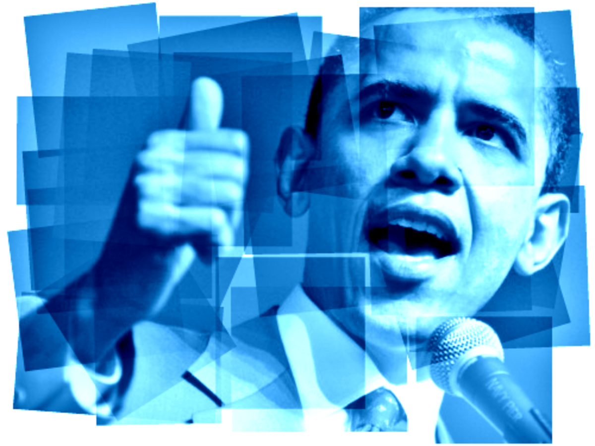 Barack Obama clip art -- thumbs-up blue
