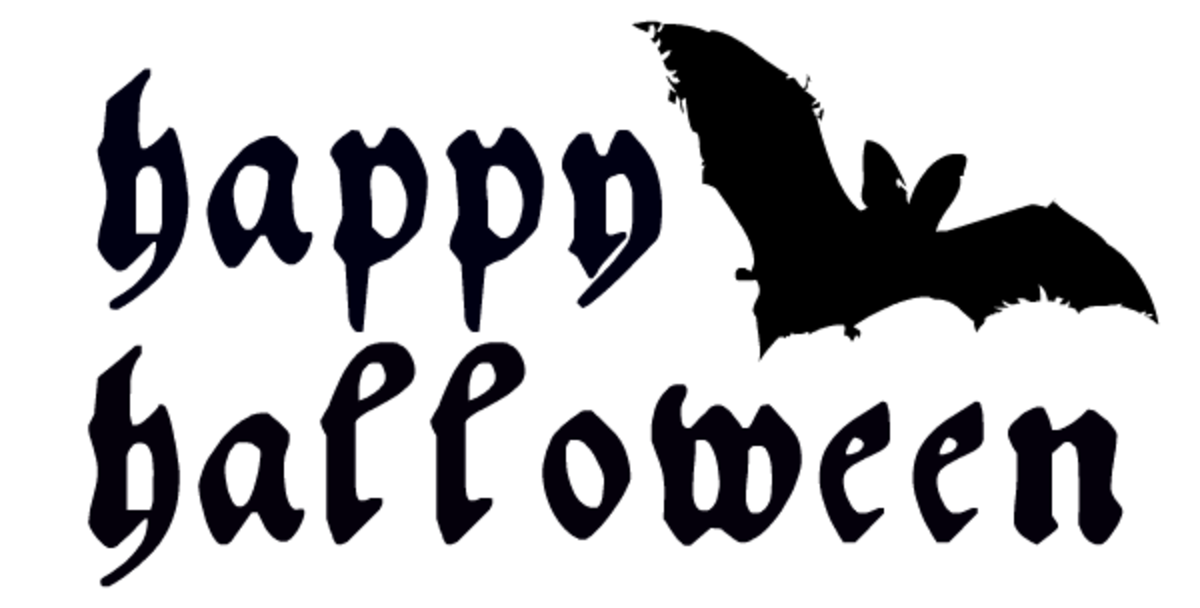 """Happy Halloween"" with one flying bat"