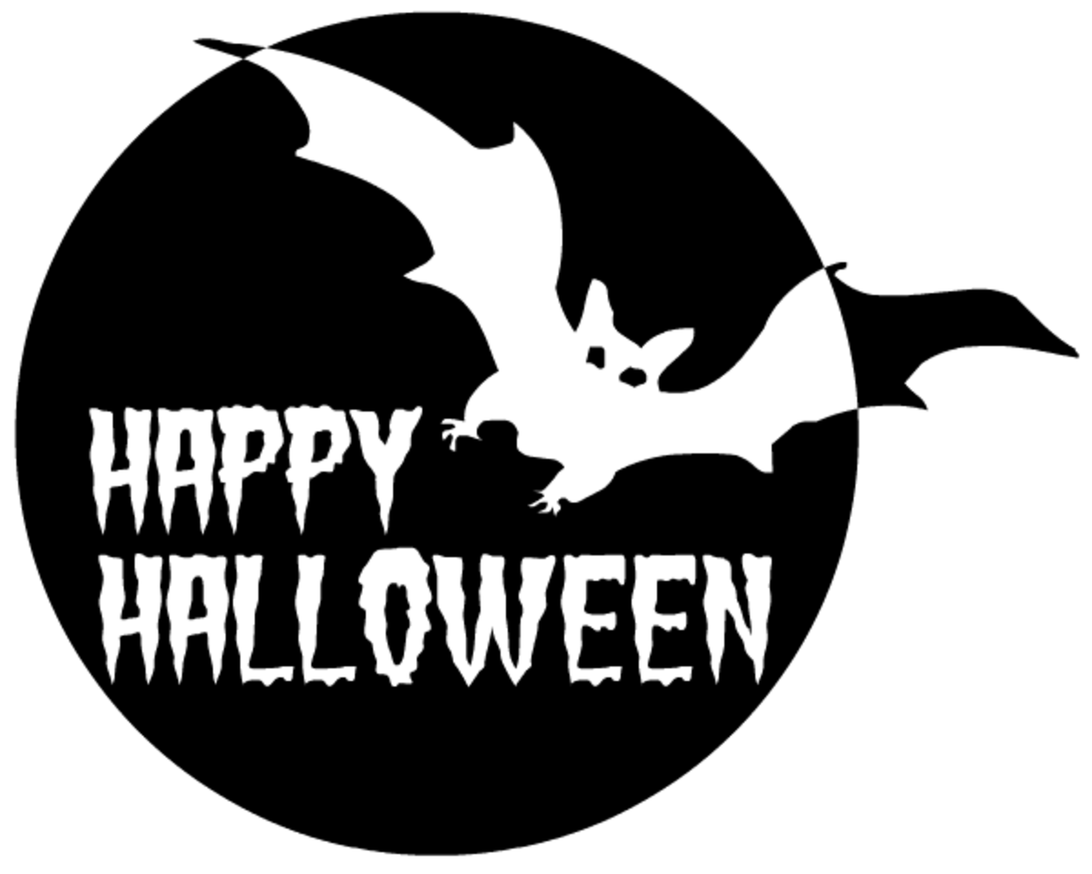 "Bat and full moon black and white ""Happy Halloween"""