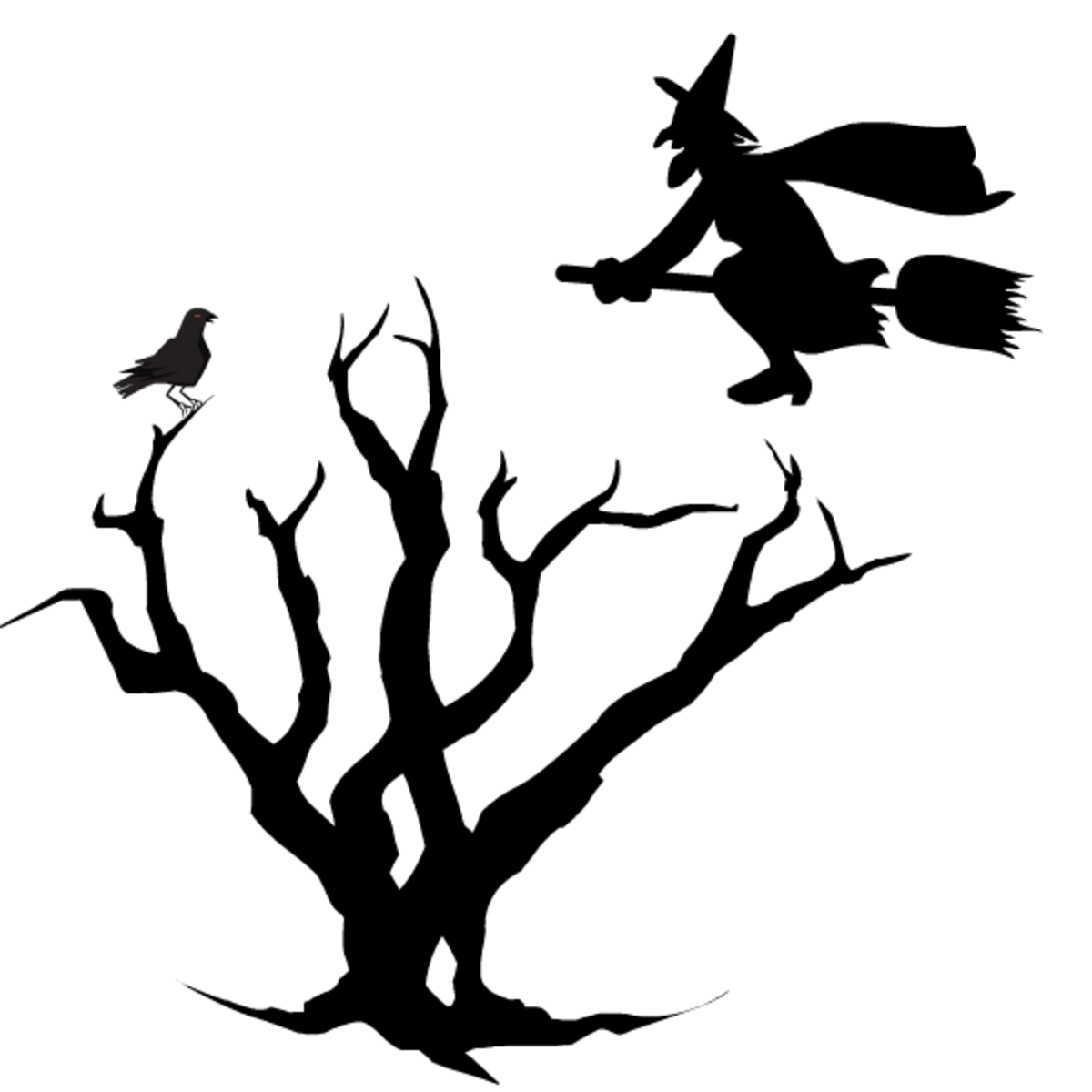 Free witch on a broom flying over dead tree