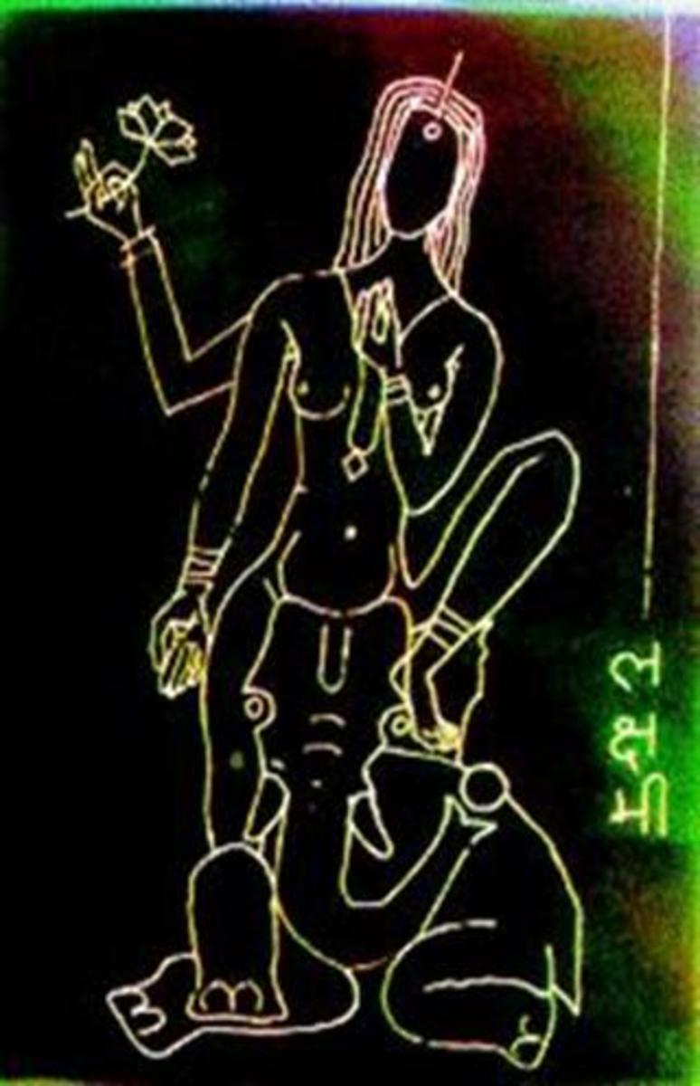 Goddess Lakshmi naked on Shree Ganesh's head