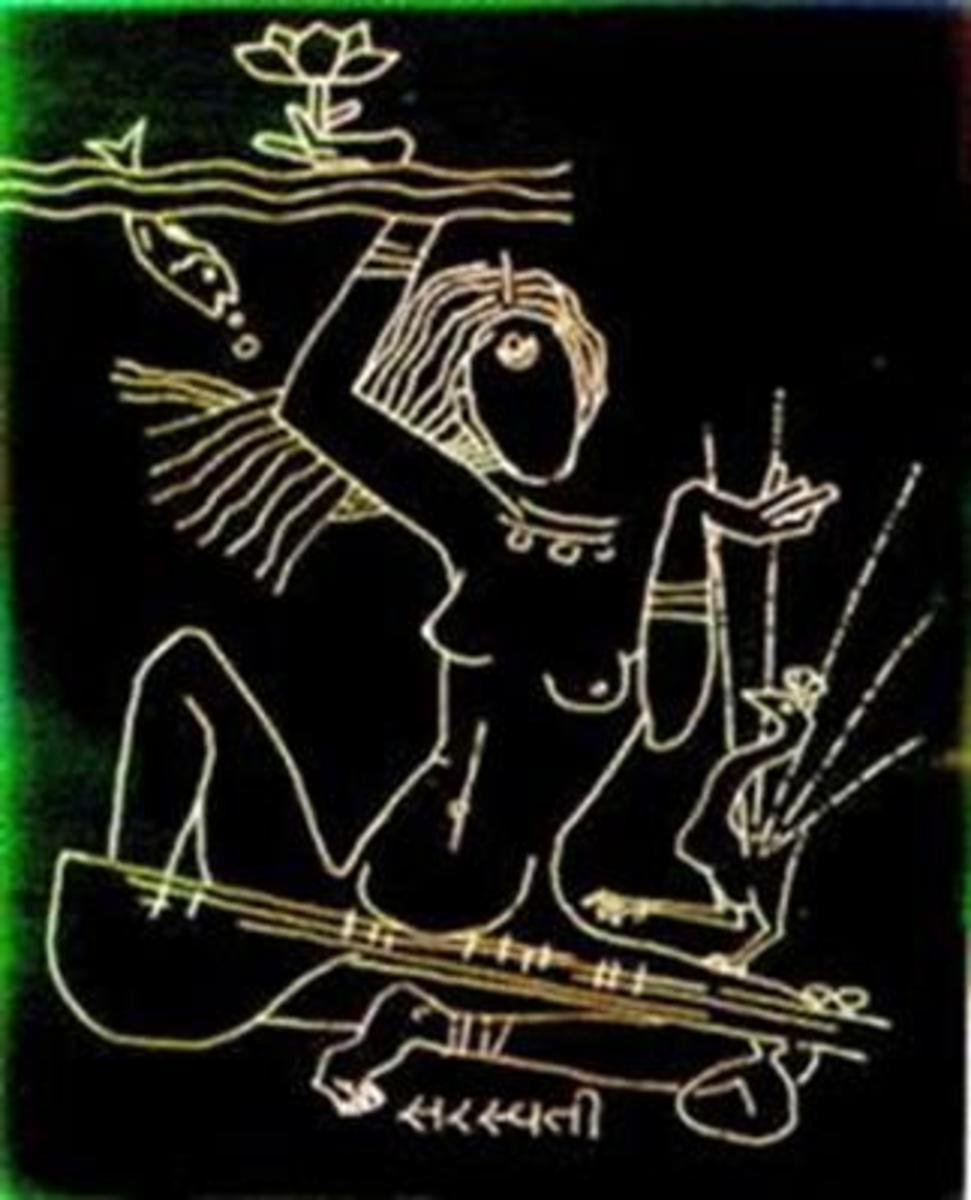 Naked Goddess Saraswati
