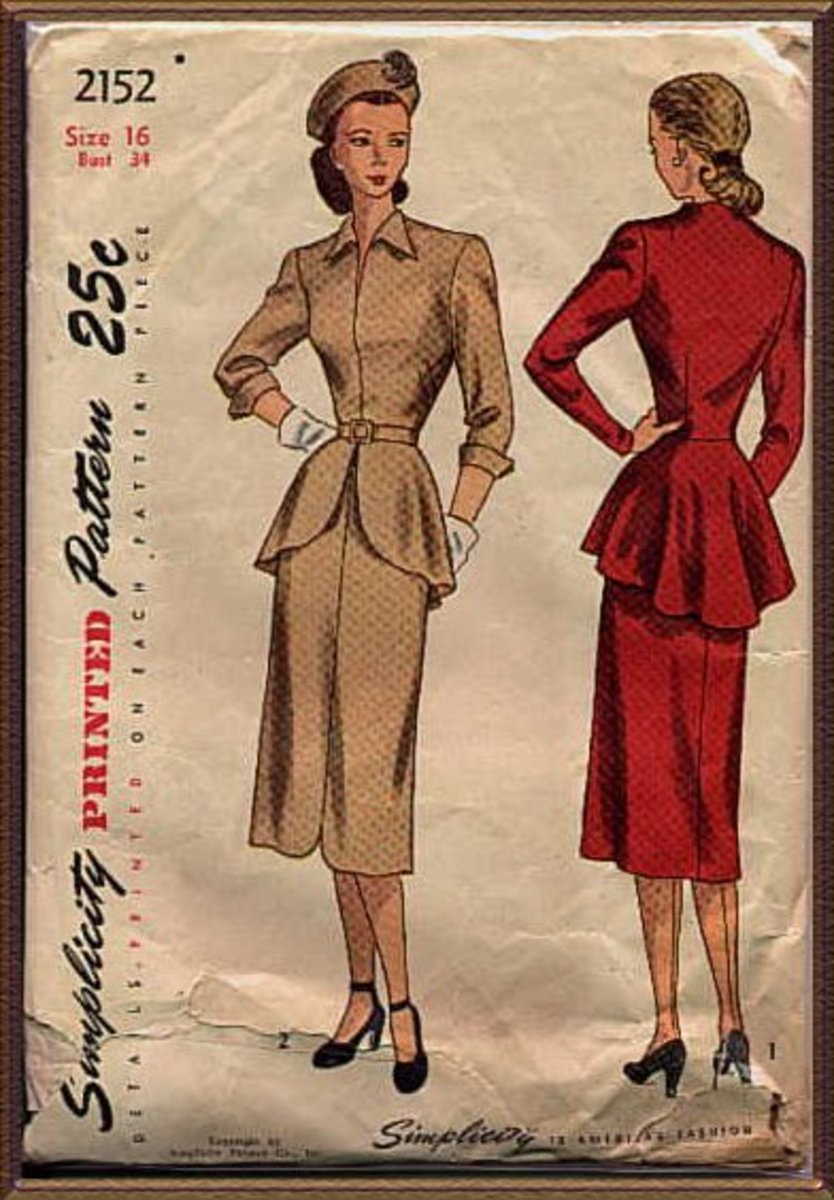 Women wore dresses to the knee or below and broad, square shoulders were popular due to  military influence.  Some women resorted to sewing clothing from  flour sacks because more common fabrics were not available for civilian uses.