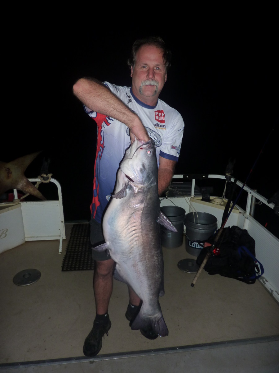 Gary Turner with a good blue catfish caught while night fishing on Santee Cooper.