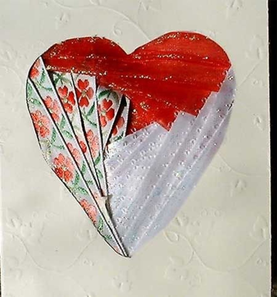 Valentine card with iris folded heart