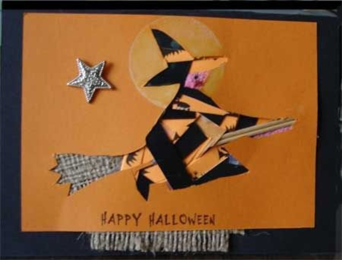 Halloween card with iris folded witch