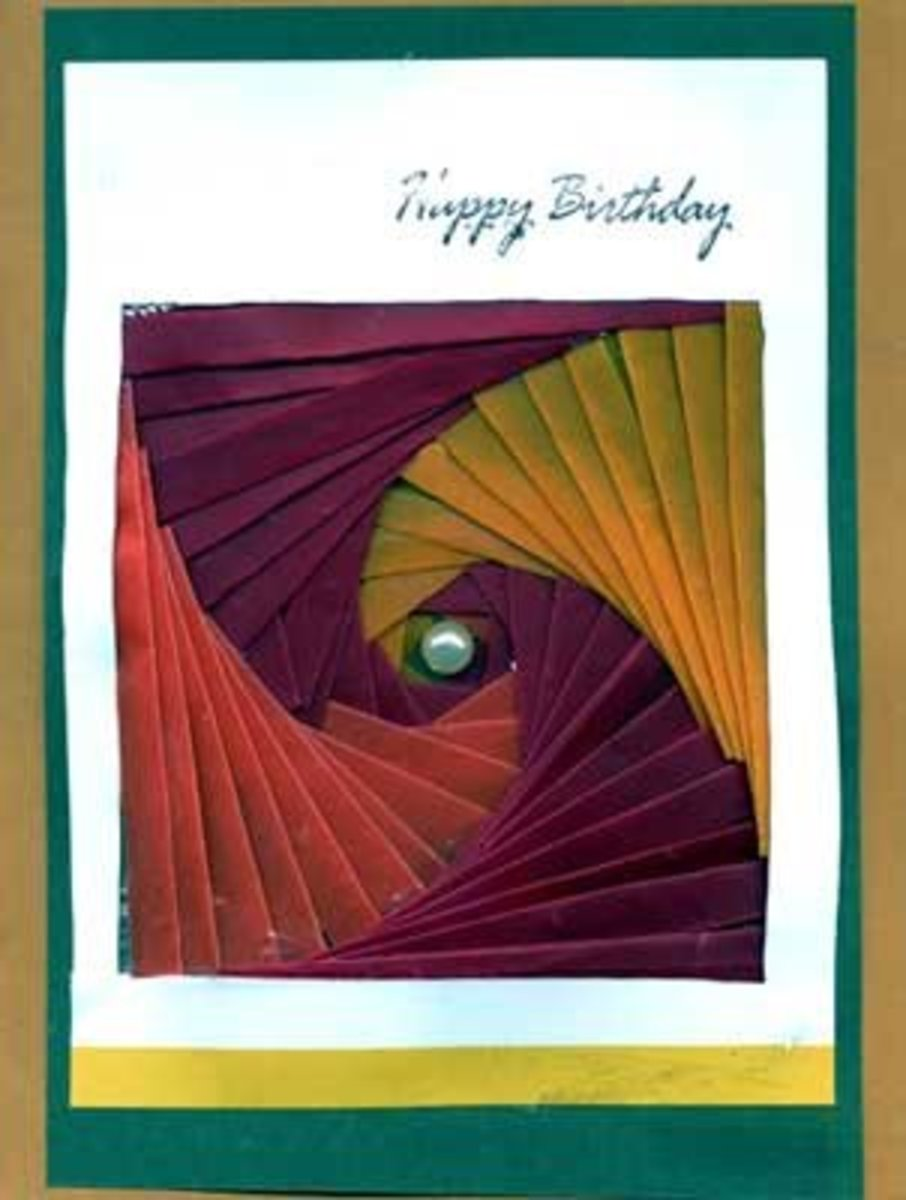 Birthday card with iris folded spiral