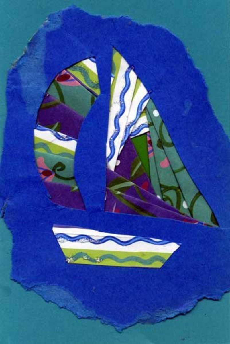 Card with iris folded sail boat