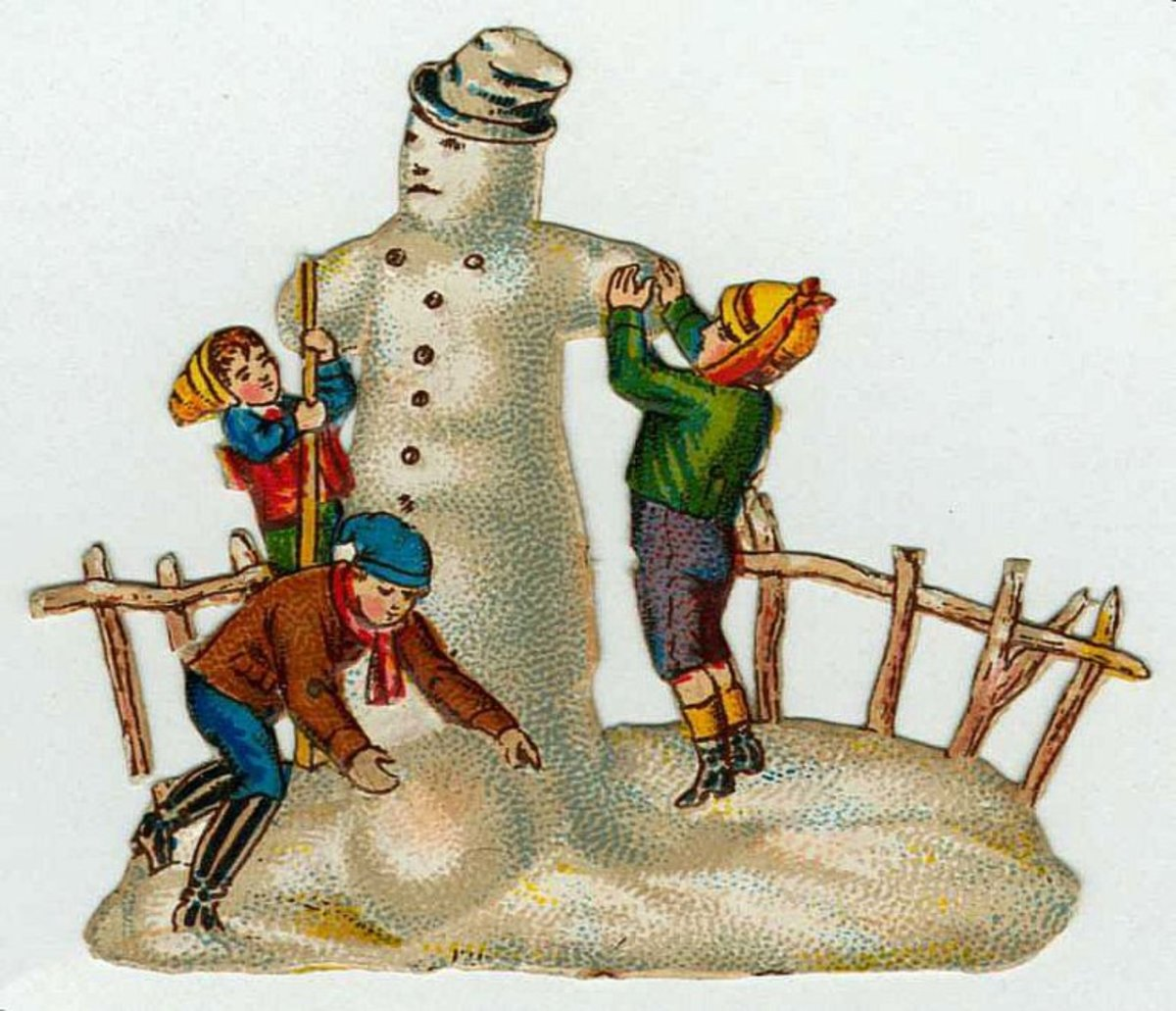 Children and snowman vintage Christmas image