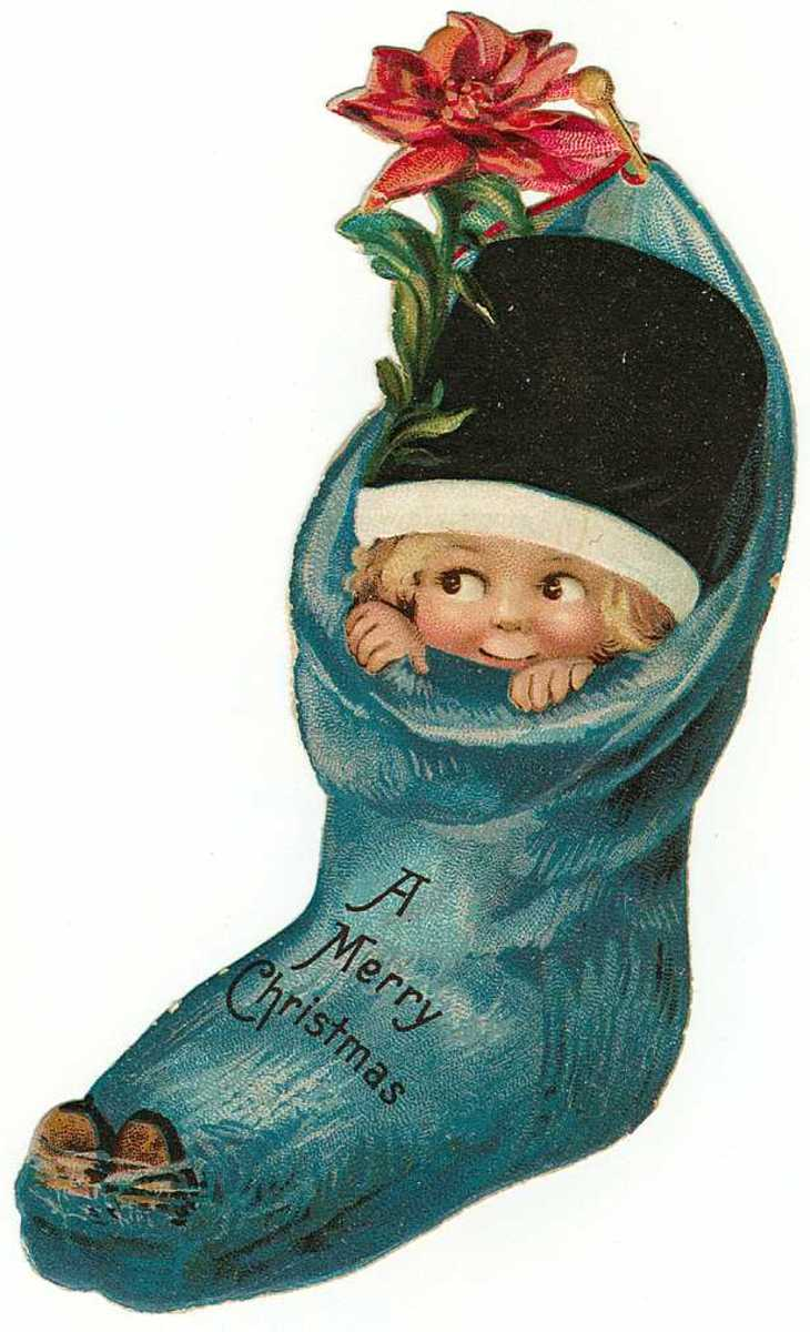 Vintage Christmas stocking with little girl in it