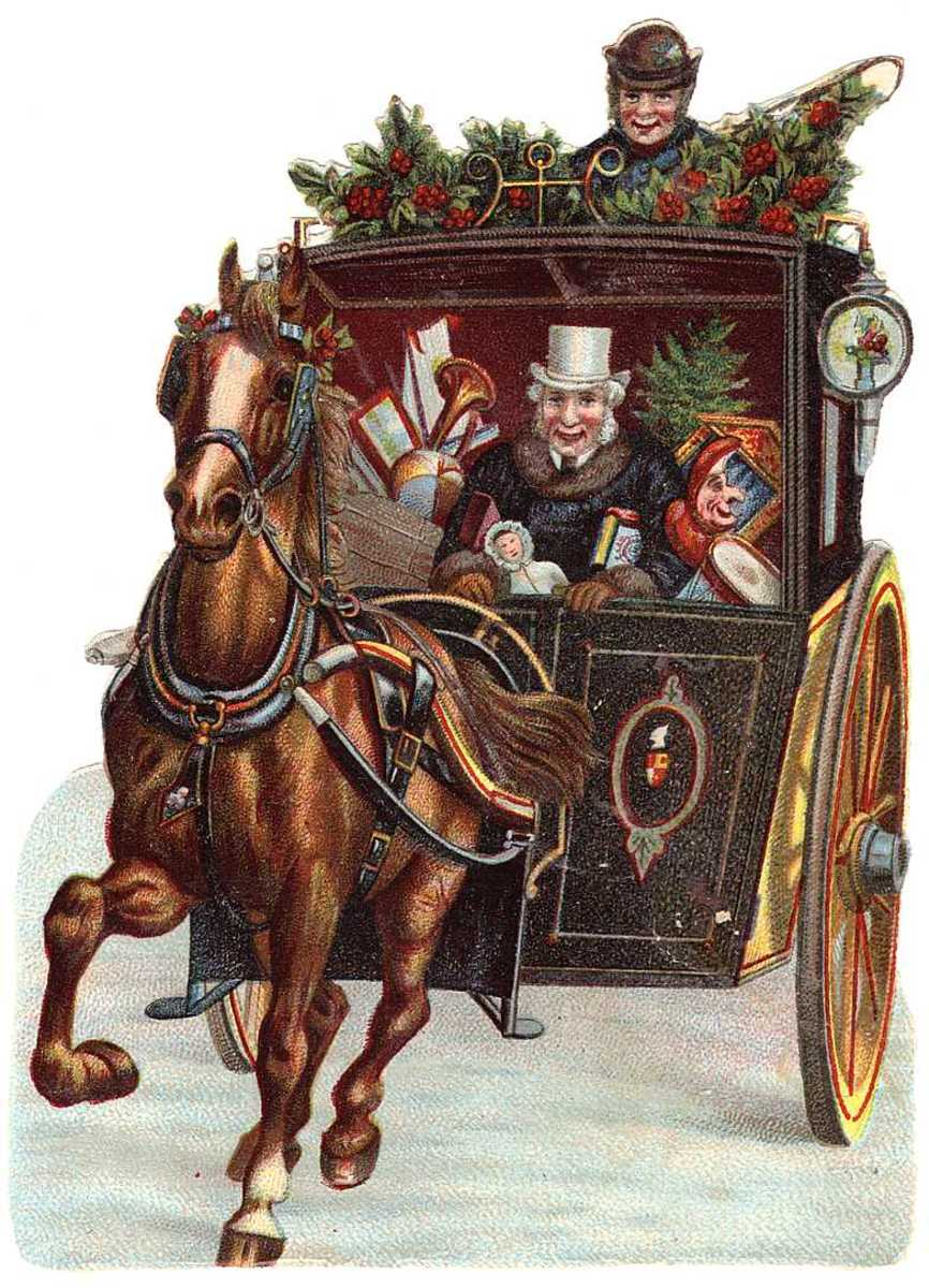 Vintage Christmas carriage with people and toys