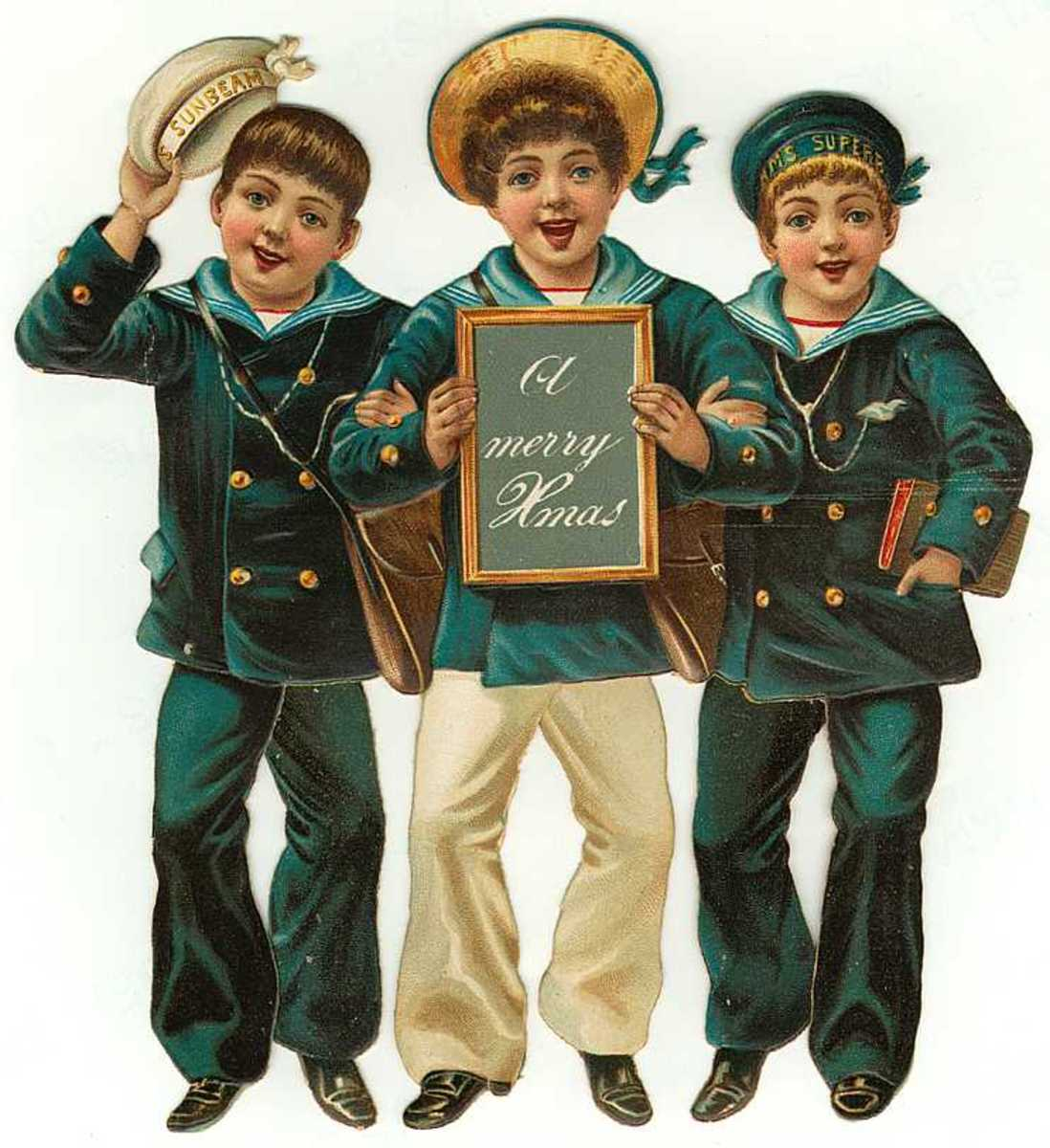 Vintage Christmas images: three young sailor boys