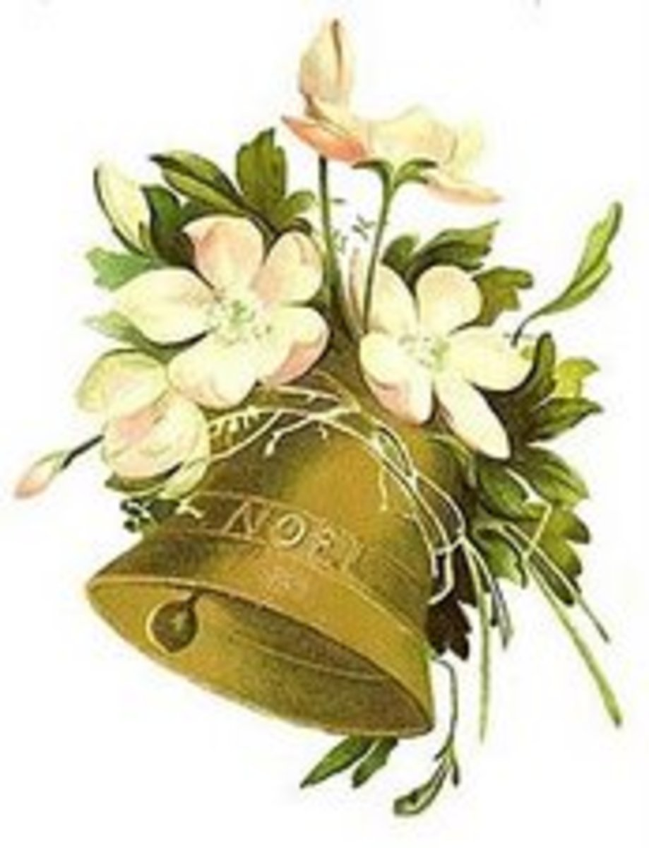 Noel christmas bell with white flowers