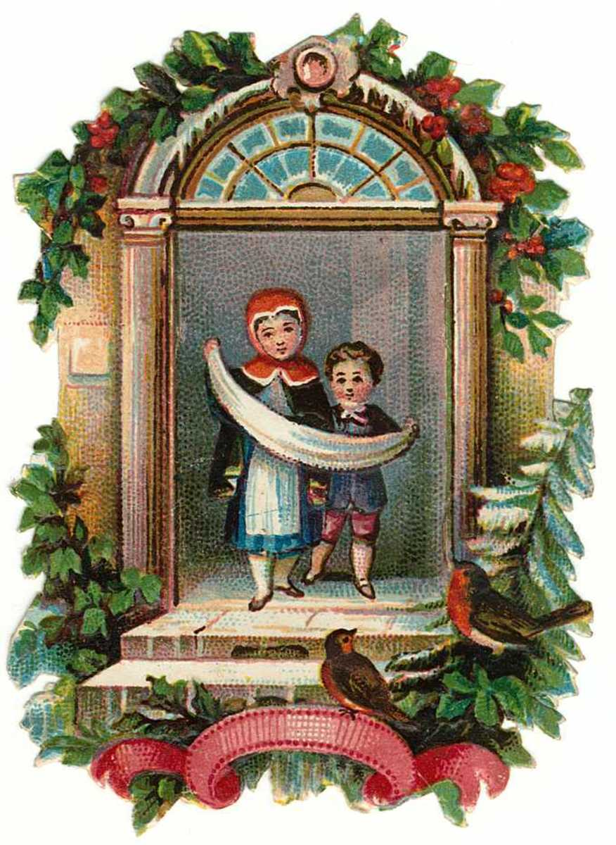 Free vintage Christmas images: two children in a doorway with holly