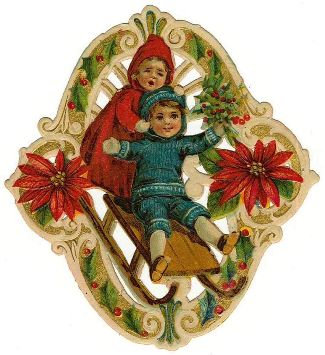 Vintage Christmas images:  Children on a sled