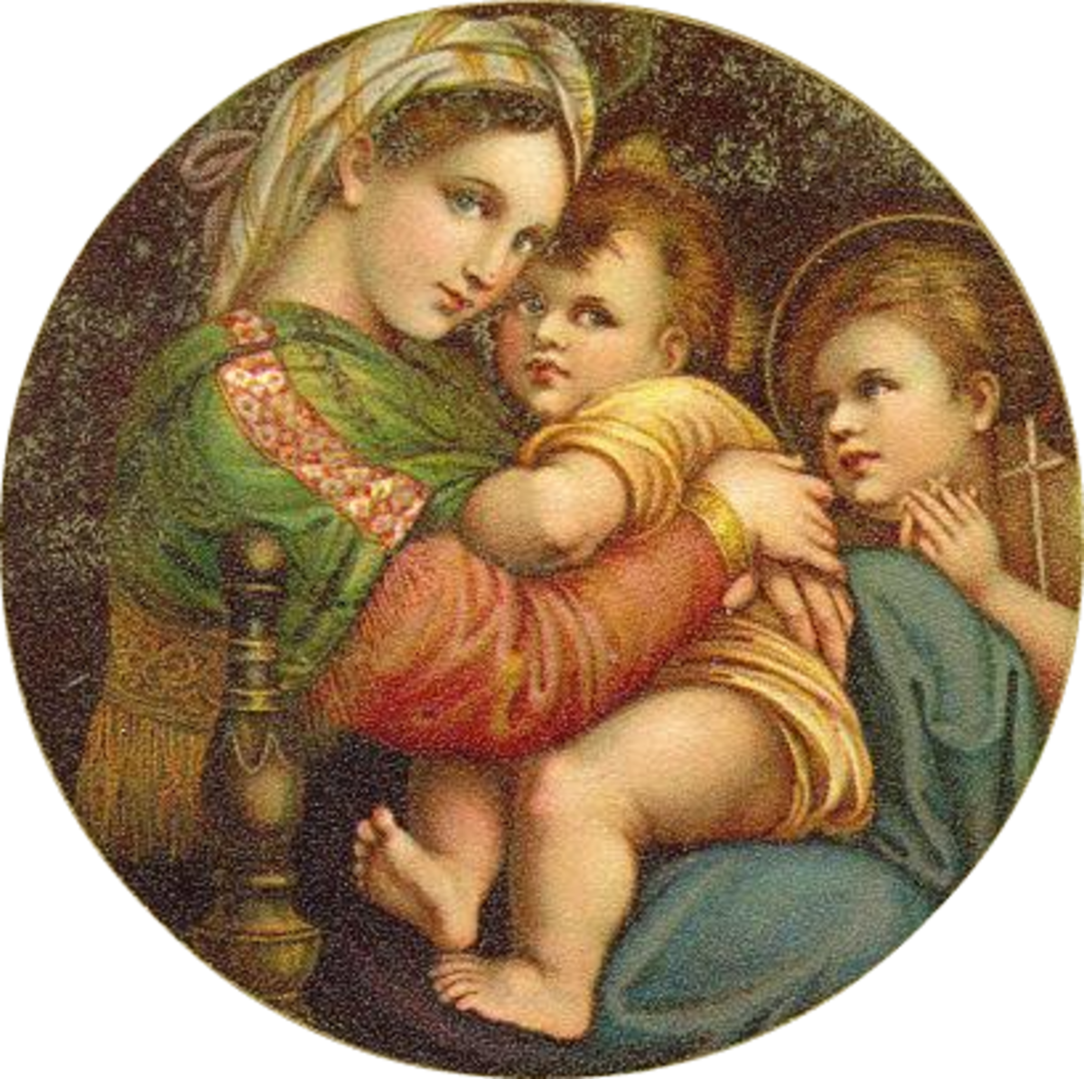 Vintage Christmas images: Baby Jesus, Mary and angel