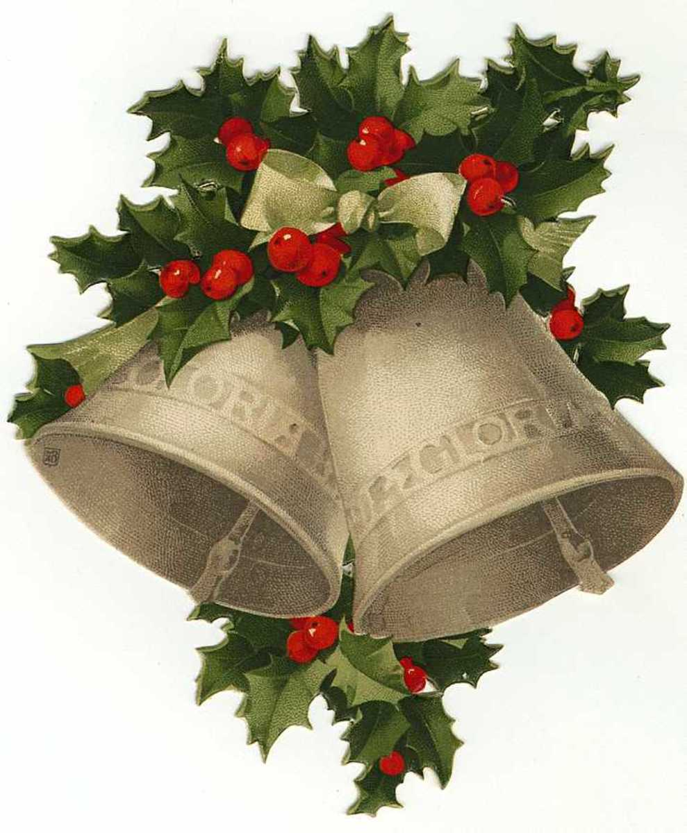 Vintage Christmas bells and holly