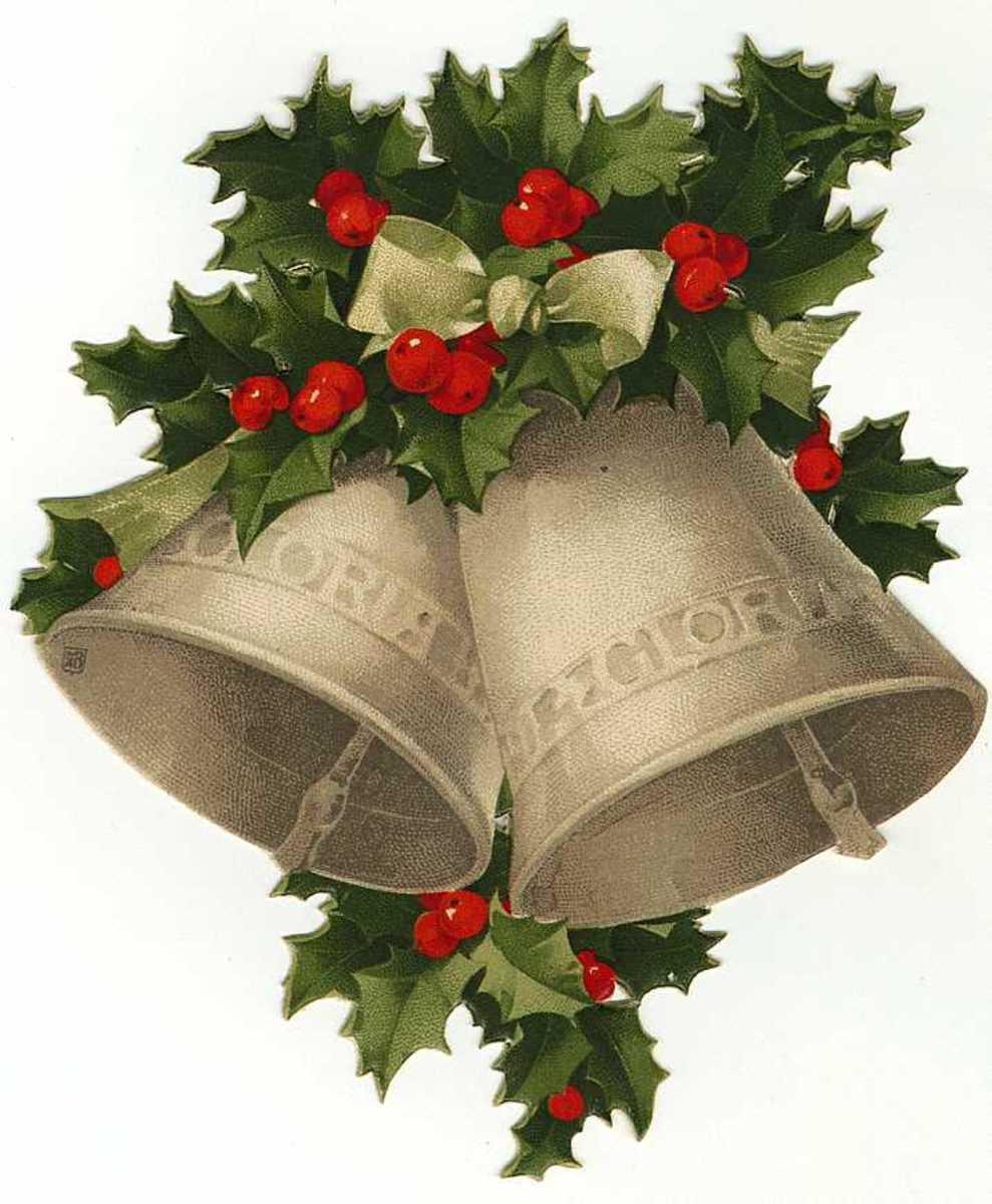 Vintage Natal sinos e holly