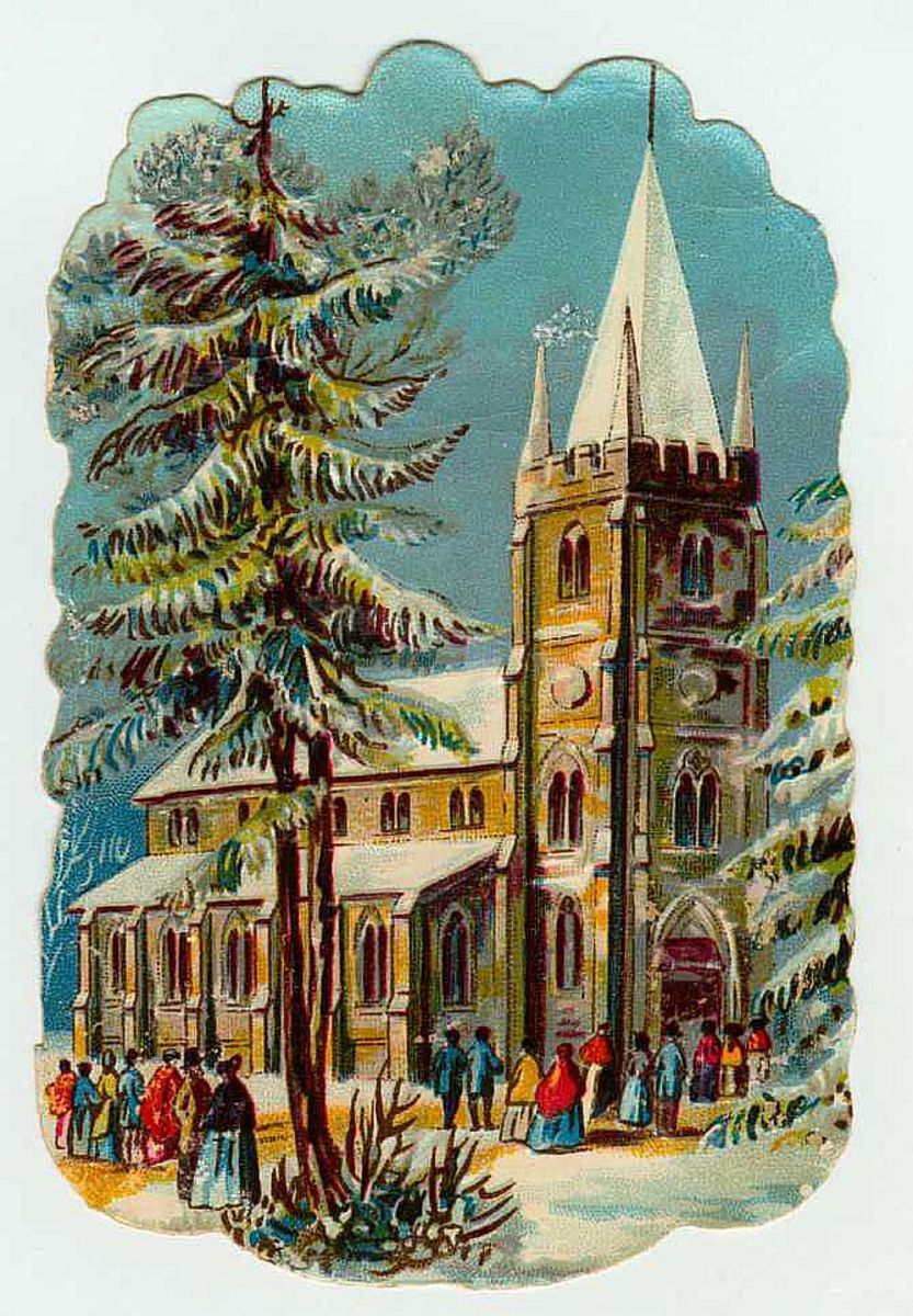 Vintage church and snow scene