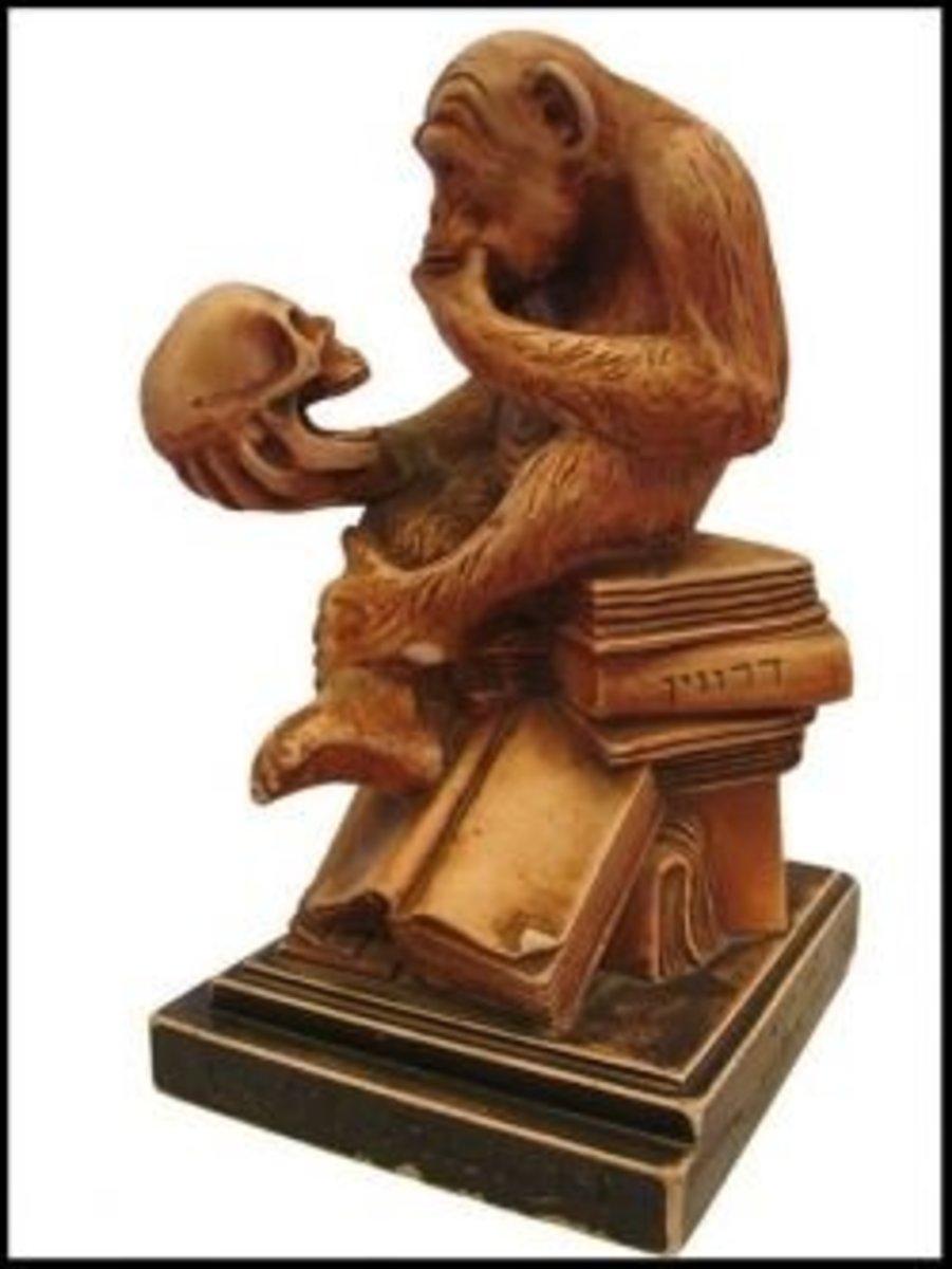 Statue entitled Darwin's Ape, photo by Okedem